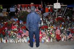 SAN BERNARDINO, CA. DECEMBER 17, 2015, A makeshift memorial at the Inland Regional Center (IRC) in San Bernardino, CA. San Bernard Royalty Free Stock Images