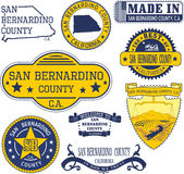 San Bernardino county, CA. Set of stamps and signs Royalty Free Stock Photos