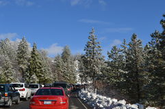San Bernardino Mountain Traffic to Big Bear stock photos