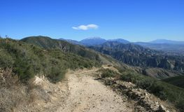 San Bernardino Mountains Panorama. Dirt road in the San Bernardino Mountains, California Stock Photo