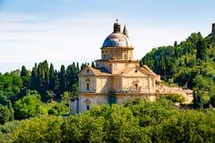 San Biagio kyrka utvändiga Montepulciano, Tuscany, Italien fotografering för bildbyråer