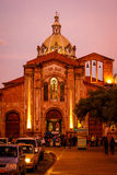The San Blas cathedral in Cuenca, Ecuador. Night view of San Blas cathedral in Cuenca, Ecuador stock photography