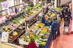San Blas Market in Logroño. Spain. Logroño, Spain - April 9, 2016. People shopping vegetables in San Blas Market (Mercado de Abastos). San Blas is the stock image