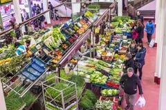 San Blas Market in Logroño. Spain. Logroño, Spain - April 9, 2016. People shopping vegetables in San Blas Market (Mercado de Abastos). San Blas is the royalty free stock photos