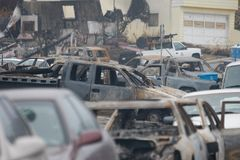 San Bruno Explosion Aftermath. The tragic scene in the wake of the explosion that happened in San Bruno on September 9, 2010 Stock Photos