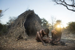 San Bushmen. Displaying skills Royalty Free Stock Photo
