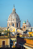 San Carlo al Corso and Saint Peter`s domes from piazza di Spagna in Rome, Italy Stock Images