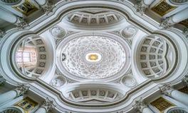 San Carlo alleQuattro Fontane kyrka St Charles nära de fyra springbrunnarna, arbete för Borromini ` s, Rome arkivbild