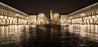 San Carlo square Piazza Torino Turin Italy Italy night view royalty free stock photography