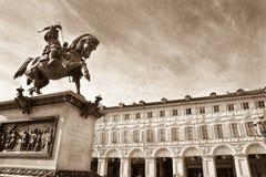 San Carlo Square, Turin, Italy - monochrome Royalty Free Stock Image