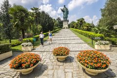 Arona, Italy. The San Carlone or Sancarlone or the Colossus of San Carlo Borromeo, a massive bronze statue erected between 1614 and 1698. Sacro Monte di Arona Stock Photos