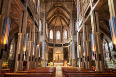 San Carlos Bariloche Cathedral. BARILOCHE, ARGENTINA - APRIL 27, 2016: Cathedral of San Carlos de Bariloche interior. It is located in Bariloche, Patagonia Royalty Free Stock Images