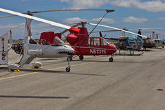 SAN CARLOS, CA - JUNE 19: Helicopters on display Royalty Free Stock Photos