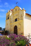 San Carlos Cathedral, Monterey, California. Lavender blooming in front of the historic San Carlos Cathedral, the Spanish mission in Monterey, California Royalty Free Stock Photo