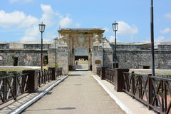 San Carlos de La Cabana Fortress. HAVANA, CUBA - JULY 23, 2016: San Carlos de La Cabana (Fort of Saint Charles) entrance. Located on the elevated eastern side of Royalty Free Stock Images