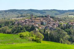 San Casciano dei Bagni, one of the most beautiful villages of Italy. Beautiful areal landscape of a small rural village on the. Hill, Tuscany, Italy. A small royalty free stock photo