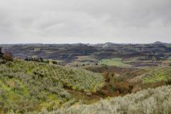San Casciano panorama i Tuscany, Italien Arkivfoto