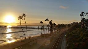 San Clemente Pier bij zonsondergang Stock Fotografie