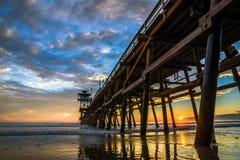 San Clemente Pier bij zonsondergang Royalty-vrije Stock Foto