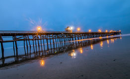 San Clemente Pier at Low tide. Long exposure of San Clemente Pier Stock Image