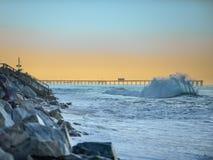 San Clemente  Shore Break Flair. An exploding wave breaking on the shore in San Clemente, California Stock Photography