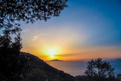 San Costanzo  mount at Massa Lubrense, Sorrento. Landscape of Sorrento`s peninsula from mount San Costanzo, at Massa Lubrense, Sorrento at sunset Stock Photo