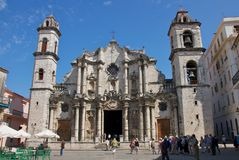 San Cristobal Cathedral in Old Havana Royalty Free Stock Images