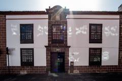 2019-02-22 San Cristobal de la Laguna, Santa Cruz de Tenerife - casa Riquel - imágenes del centro de ciudad de la capital anterio fotos de archivo libres de regalías