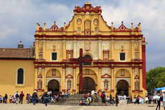 San Cristobal de las Casas cathedral. Was built in 1528, but didn't resist due to earthquakes and poor construction. The present building dates from the 1700s Stock Photography