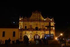 San Cristobal de las Casas Cathedral. Night image of The Cathedral of San Cristobal de Las Casas, Chiapas, Mexico royalty free stock images