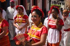 SAN CRISTOBAL DE LAS CASAS, MÉXICO, O 13 DE DEZEMBRO DE 2015: Mulheres em t Foto de Stock
