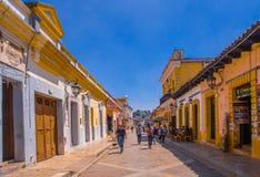 SAN CRISTOBAL DE LAS CASAS, MESSICO, MAGGIO, 17, 2018: Vie nella capitale culturale del Chiapas nel centro urbano Fotografia Stock Libera da Diritti