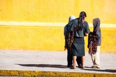 Local children at the streets of San Cristobal de las Casas, Mexico. stock photos