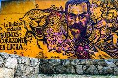 Street art in San Cristobal de las Casas, Mexico. San Cristobal de las Casas, Mexico - March 26, 2015: Street art on old wall royalty free stock images