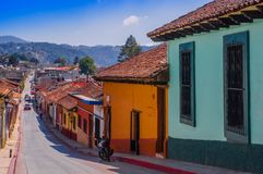 SAN CRISTOBAL DE LAS CASAS, MEXICO, MAY, 17, 2018: Street view and sidewalk in the historical centre of San Cristobal de. Las Casas, Mexico stock images