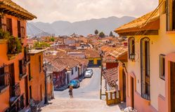 SAN CRISTOBAL DE LAS CASAS, MEXICO, MAY, 17, 2018: Street view and sidewalk in the historical centre of San Cristobal de. Las Casas, Mexico royalty free stock photography
