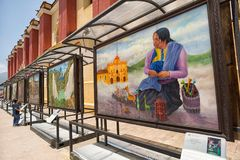 San Cristobal de las Casas, Mexico street art. April 14, 2014 San Cristobal de las Casas, Mexico: informative explanatory street frescos depicting the rich royalty free stock image