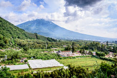 San Cristobal el Bajo & Agua volcano, Guatemala royalty free stock photo