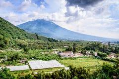 San Cristobal el Bajo & Agua volcano, Guatemala Royalty Free Stock Photo