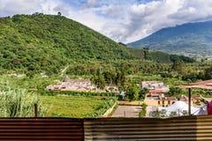 San Cristobal el Bajo & Agua volcano, Guatemala Stock Image