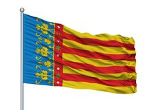 San Cristobal La Laguna City Flag On flaggstång, Spanien som isoleras på vit bakgrund stock illustrationer