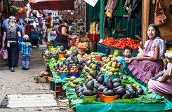 Local market in San Cristobal, Mexico. SAN CRISTOBAL, MEXICO-DEC 11, 2015: San Cristobal de las casas inhabited by indigenous Tzotzil Maya people, traditional royalty free stock images