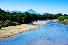 San Cristobal Volcano. With river in foreground Royalty Free Stock Image