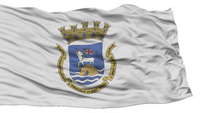 San d'isolement Juan Flag, ondulant sur le fond blanc Images stock