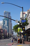 The San Diego�s Gaslamp Quarter and Fifth Ave Stock Photos