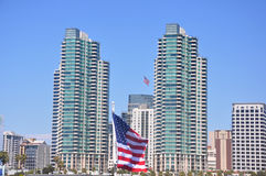 San Diego. View of the San Diego Skyline with an American flag flying in the middle Stock Photography