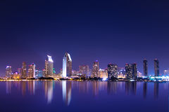 San diego. California skyline at night royalty free stock photo