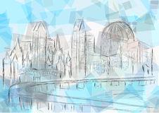 San diego. Abstract silhouette of city on multicolor background Royalty Free Stock Image