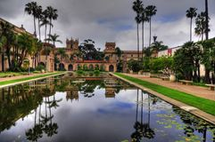 San Diego Balboa Park. The Lily pond, reflecting the casa de Balboa and House of Hospitality at Balboa Park, San Diego (HDR image stock image