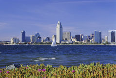 San Diego Bay. The San Diego skyline is viewed from Coronado Island on San Diego Bay royalty free stock photo